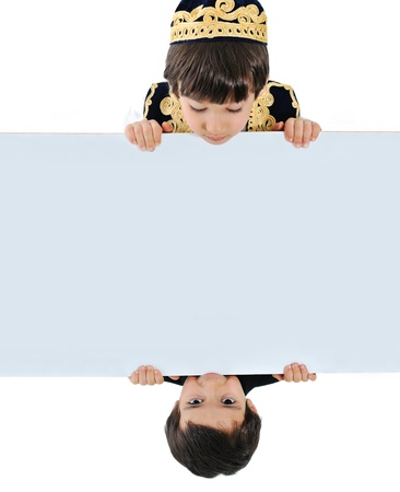 Two kids holding white banner photo