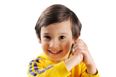 Cute little kid claping his hands photo