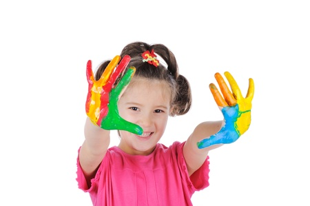 nurser: Happy child with colorful painted hands isolated