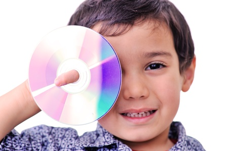 new age music: Young with cd dvd covered his right eye Stock Photo