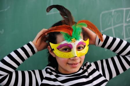 Schoolgirl in catwoman costume photo
