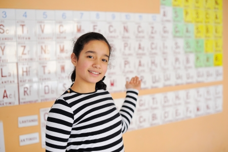 Beautiful schoolgirl showin periodic table of elements photo