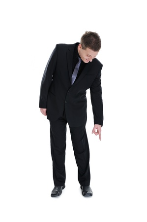 Businessman pointing down isolated Stock Photo
