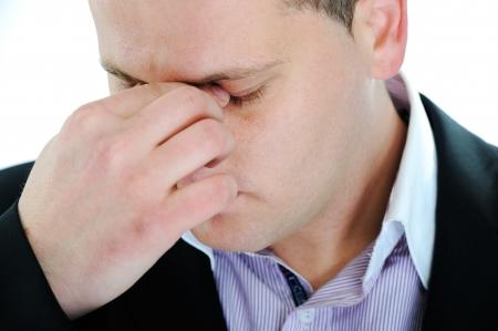 body pain: Man in despair Stock Photo