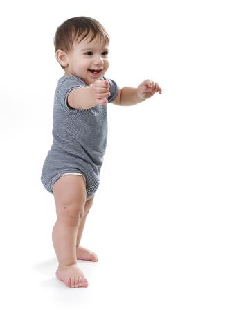 Apprendre à marcher en bas âge heureux Banque d'images