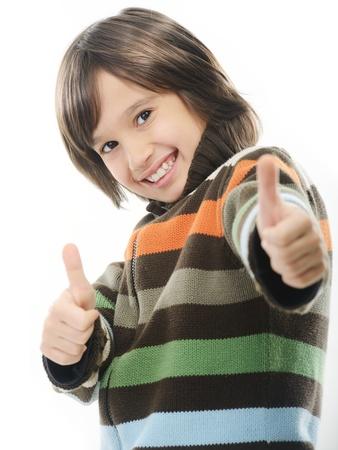 Portrait of happy joyful little boy isolated on white background photo