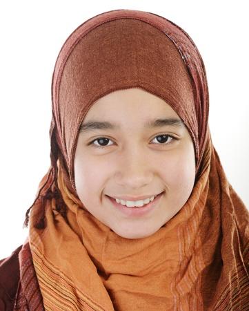 diversidad cultural: Chica musulmana �rabe Adorable Foto de archivo
