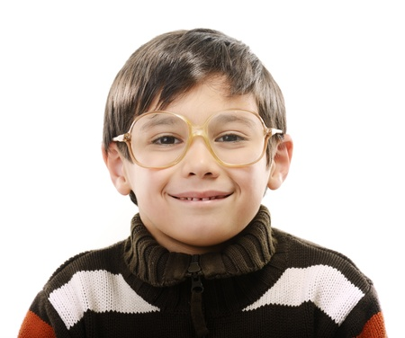 Little boy with glasses isolated on white photo