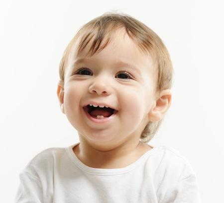 Portrait of very happy smiling baby boy Stock Photo