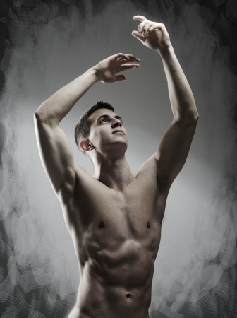 shirtless male: Young sexy muscular man posing