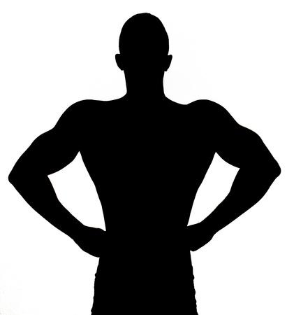 desnudo masculino: Silueta de m�sculos sexy joven desnudo Foto de archivo