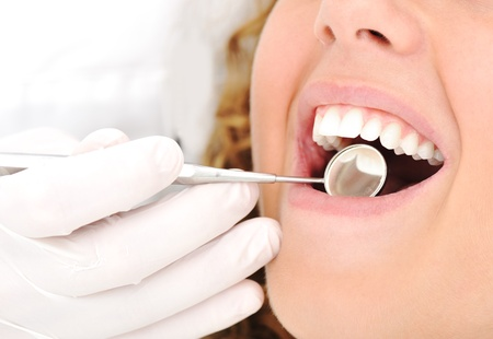 dental surgeon: Healthy teeth patient at dentist office dental caries prevention