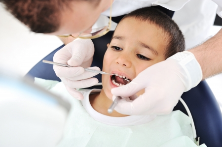 Healthy teeth child patient at dentist office dental caries prevention photo