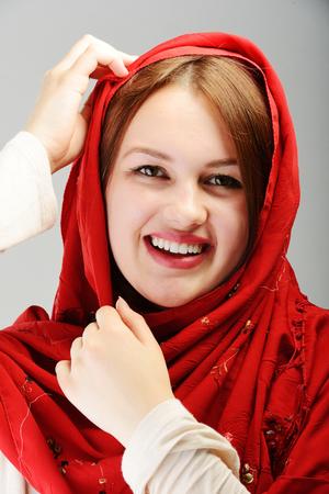 arab teen: Young beautiful Muslim girl portrait Stock Photo