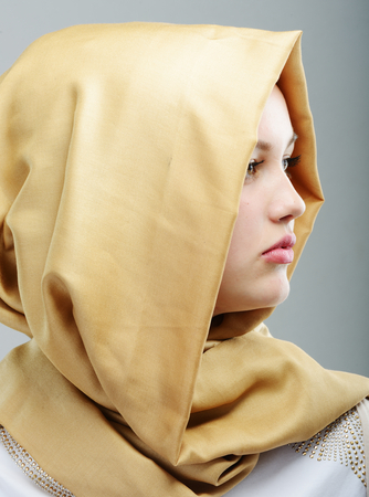 middle eastern ethnicity: Young beautiful Muslim girl portrait Stock Photo
