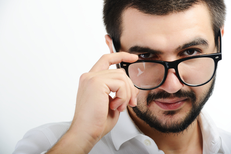 Young Middle eastern young attractive male model posing with glasses photo