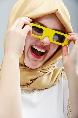 arab hijab: Young beautiful Muslim girl portrait Stock Photo