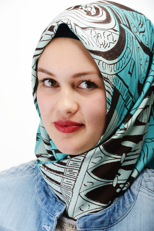hijab: Young beautiful Muslim girl portrait Stock Photo