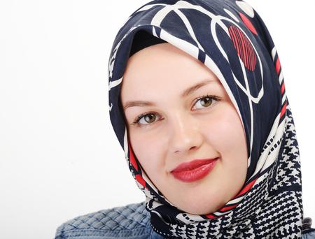 turkish woman: Young beautiful Muslim girl portrait Stock Photo