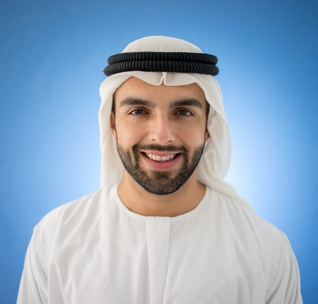 Arabic man on blue