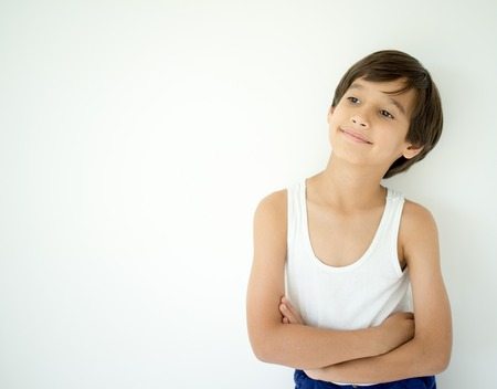 Adorable little happy boy with copy space Stock Photo