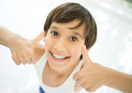 boy underwear: Adorable little happy boy looking at camera with thumbs up
