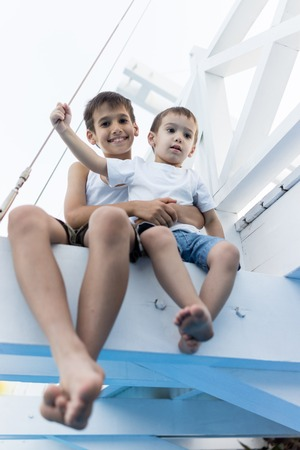 boy kid: Happy kids spending holiday vacation in beautiful resort