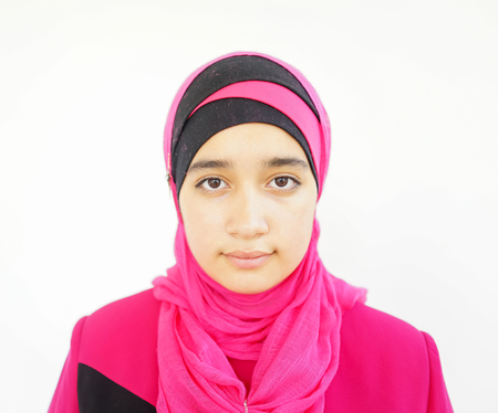 hijab: Fashion portrait of young beautiful muslim girl wearing hijab