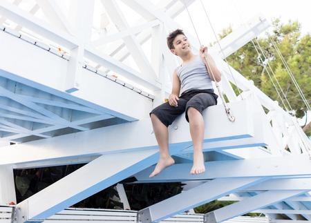 kids fun: Happy kids spending holiday vacation in beautiful resort