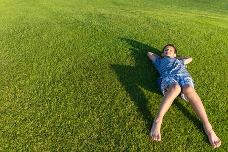 kids outside: Enyojing on beautiful grass meadow
