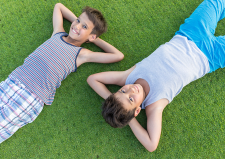 boy kid: Happy summer vacation for kids on perfect meadow grass