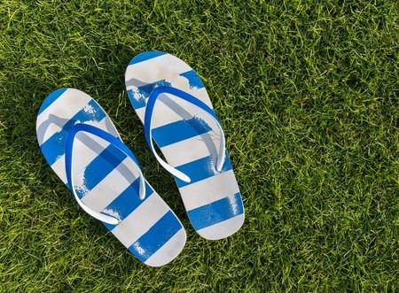 flip flops: Enyojing on beautiful grass meadow