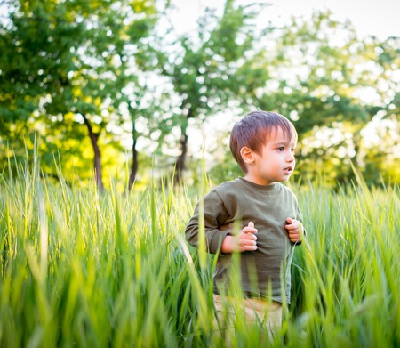 Happy kid with raised arms in green spring field against blue sky. Freedom and happiness concept Stock Photo