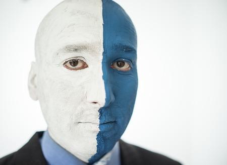 contrast: Conceptual artistic face portait photo of a man Stock Photo