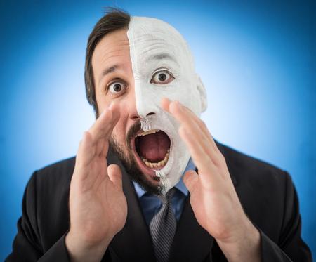 portait: Conceptual two sides face portait photo of a businessman