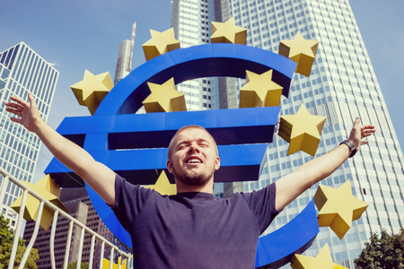 Euro symbol in Frankfurt Stock Photo