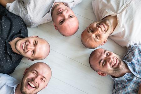 Young men closeup group portrait