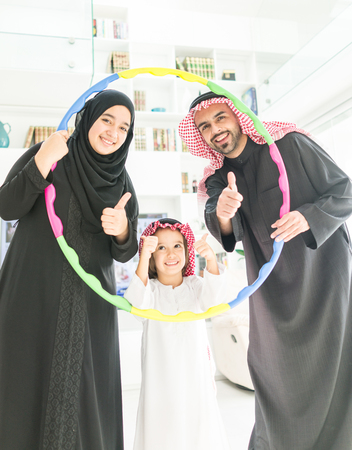 Arabian Gulf happy family at home photo