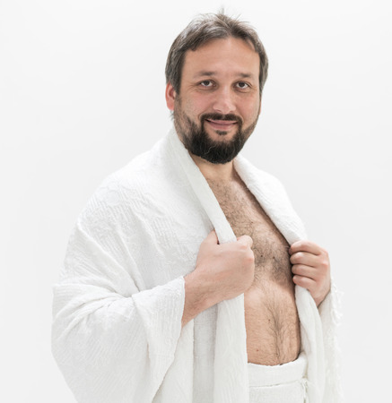 Muslim pilgrim with Hajj clothes