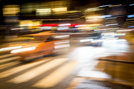 Cars motion on city rain night street