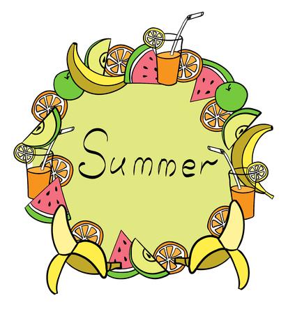 Summer fruit frame handrawn  banana apple watermelon orange juice
