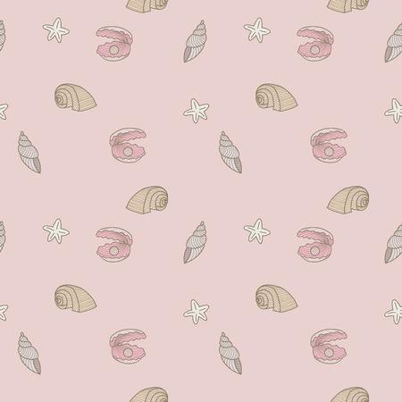brightness: pastel sea shells seamless pattern
