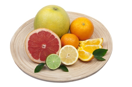 pomelo: Isolated dish with citrus Stock Photo