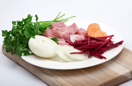 flesh: Flesh meat with vegetables