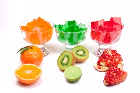 GELATIN: tri-colored jelly with fruits in a rows