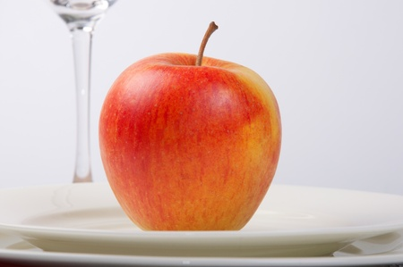 plate and apple photo