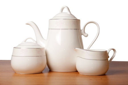 tea set: Bone china tea set isolated on white Stock Photo