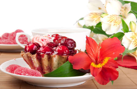 strawberry jelly: Berry cake with jelly Stock Photo