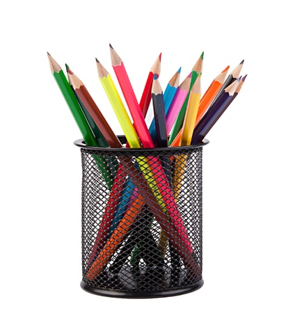 pencil holder: colour pencils in a black holder Stock Photo