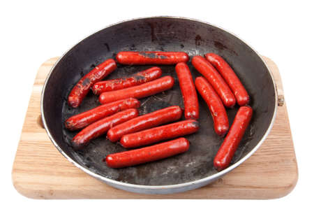 roasted sausages on the pan  photo